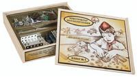 Конструктор детский металлический №1 деревянная упаковка 206 дет.
