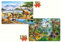 "Детские пазлы ""Саванна и джунгли"" 2 штуки (70 х 135мм)"