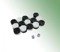 Набор детский для игры в нарды (30 фишек + 2 кубика)