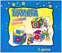 Набор детскийцветной бархатной бумаги А4 5л.