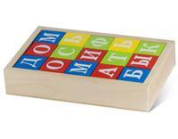 """Деревянные кубики """"Азбука"""" окрашенные 15 штук"""