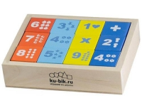 """Деревянные кубики """"Математика"""" окрашенные 12 штук"""