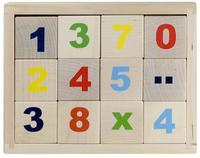 """Деревянные кубики """"Цифры"""" неокрашенные 12 штук"""