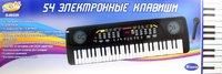 Синтезатор черный 54 клавиши с микроф. эл/мех