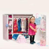Деревянный гардероб для куклы 46 см