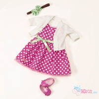 Одежда Deluxе для куклы 46 см (Платье в горошек, туфли, кофточка, заколка)