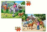 """Детские пазлы """"Верховая езда"""" 2 штуки (70 х 135мм)"""