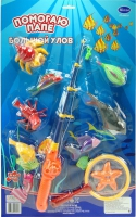 """Дет. игрушечная рыбалка """"Большой Улов"""", в наборе 1 удочка, сачок и 9 рыбок"""