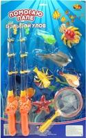 """Дет. игрушечная рыбалка """"Большой Улов"""", в наборе 2 удочки, сачок и 6 рыбок"""