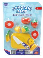"""Детский игрушечный набор овощей для резки на липучках """"Помогаю Маме"""", на блистере"""