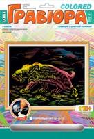 """Набор детский для создания гравюры с цветной основой """"Саблезубый тигр"""""""