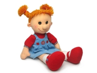 Кукла Майя в платье с яблочками (муз.) 28 см