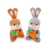 Игрушка мягкая Зайка-попрыгайка с морковкой (муз.) 30см ( Китай)