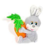 Игрушка мягкая Заяц с большой морковкой (муз.) 18 см