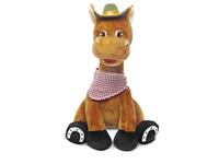 Игрушка мягкая Конь-ковбой сидящий (муз.) 23 см
