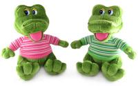 Игрушка мягкая Крокодил в полосатой футболке малый (муз.) 20 см