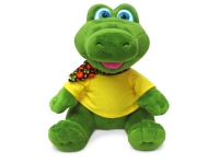 Игрушка мягкая Крокодил в футболке с платочком (муз.) 19 см