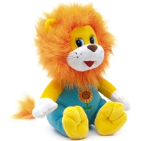 Игрушка мягкая Львенок сидящий в штанишках (муз.) 27 см