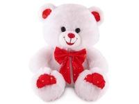 Игрушка мягкая Медведь белый с бантом  (муз.) 20 см