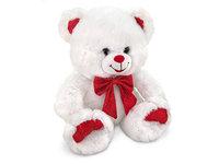 Игрушка мягкая Медведь белый с красным бантом 25 см