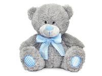 Игрушка мягкая Медведь с голубым бантом малый (муз.) 16 см
