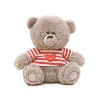 Игрушка мягкая Медвежонок в футболке в полосочку (муз.) 21см