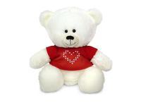 Игрушка мягкая Медвежонок Масик белый в красной кофточке (муз.) 17 см