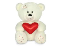 Игрушка мягкая Медвежонок Масик белый с сердцем 17 см