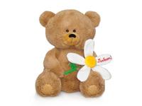 Игрушка мягкая Медвежонок с большой ромашкой (муз.) 21 см