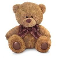 Игрушка мягкая Медвежонок Сэмми коричневый с бантом (муз.) 18 см