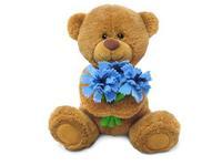 Игрушка мягкая Медвежонок Сэмми с васильками (муз.) 18 см