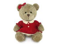 Игрушка мягкая Медвежонок-девочка в платье (муз.) 18 см
