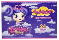 """Альбом для рисования """"Zoobles Princess"""" (24 л., А4, на скрепке, с блёстками)"""