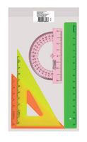 Геометрический набор малый (линейка 16 см, треугольник 2 штук, транспортир)