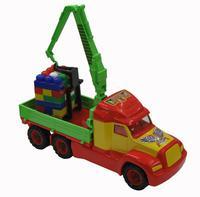 """Детский игрушечный кран с манипулятором + конструктор """"Супер-Микс"""" 30 элементов (в сетке)"""