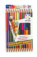 """Цветные карандаши """"Перевертыши"""" (12 штук, 24 цв.)"""