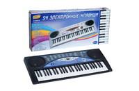 Синтезатор (пианино электронное) 54 клавиши с микроф. 85 см, работает от встроенного адаптера 220