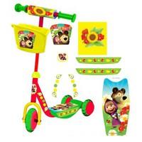 Детский 3-x колесный самокат Маша и Медведь с голографией