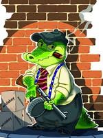 """Раскраска объемная """"Крокодил гангстер с автоматом"""""""