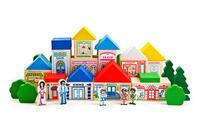 Конструктор детский веселый городок дерево 56 детали